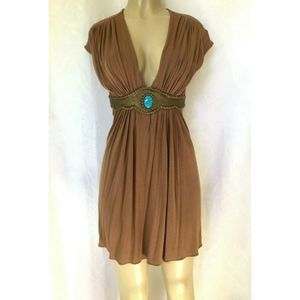 SKY Dress Tunic Brown Turquoise Stone VNeck Empire
